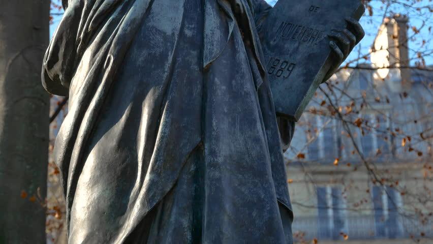 Replica of Statue of Liberty, Luxembourg Garden, Paris,ultra hd 4k, tilt | Shutterstock HD Video #26452724