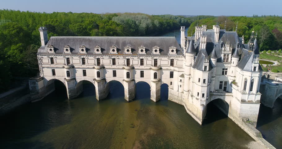 Indre et Loire, Aerial view of a Castle, Loire valley listed as World heritage site by UNESCO, 4K, UHD (4096X2160)