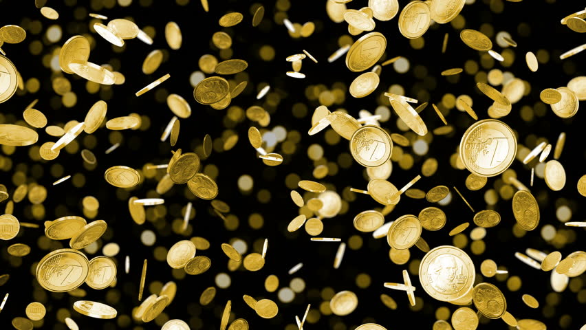 Falling coins. High quality animation of falling coins. Euro coins. Gold coins falling on black. Beautiful Looped animation