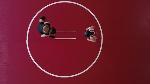 Women wrestling on a red mat. Aerial view from overhead.