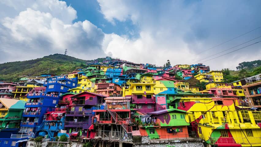 La Trinidad, Philippines - May 02, 2017: Time lapse view of the colorful Stobosa Artwork murals in La Trinidad, Benguet, Philippines.