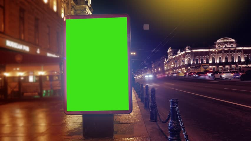 Time Lapse.A Billboard with a Green Screen on a Busy Street.Time Lapse | Shutterstock HD Video #26502380