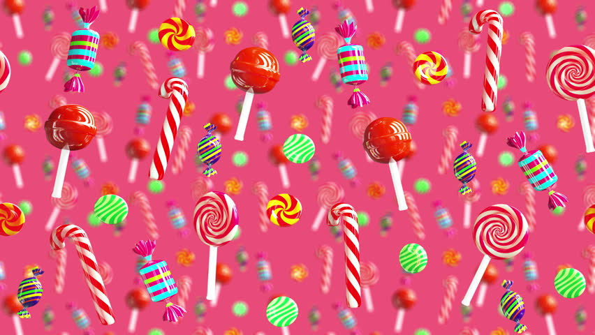 Bright glamour sweet juicy candies lollipop chupa chups caramel toffee sugar move from right to left. High quality background. Candy on red pink.