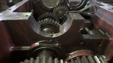 Open gearbox. Gears rotate. Transmission check and repair.Transmission gears closeup detail.