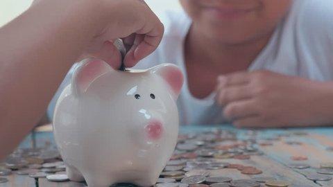 Saving money, selective focus, vintage