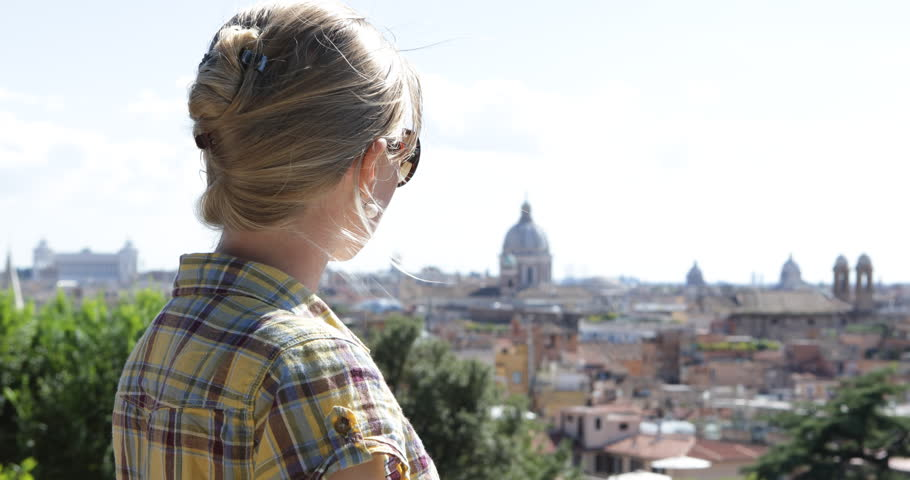 4K Beautiful woman enjoy historic skyline, blonde female relax, Rome cityscape view