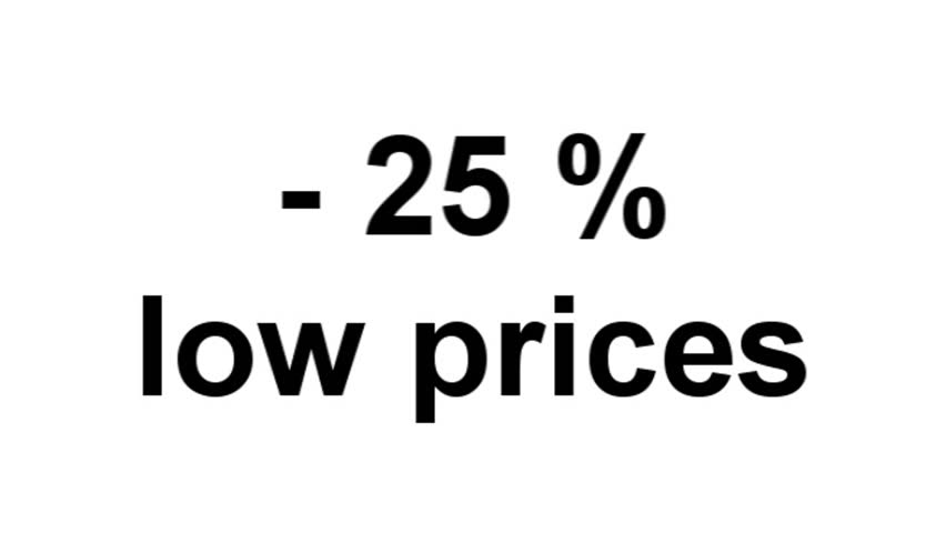 "The word ""-25% low prices"" with effect - computer generated  