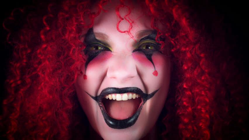 4k Halloween Horror Clown Woman Laughing Crazy