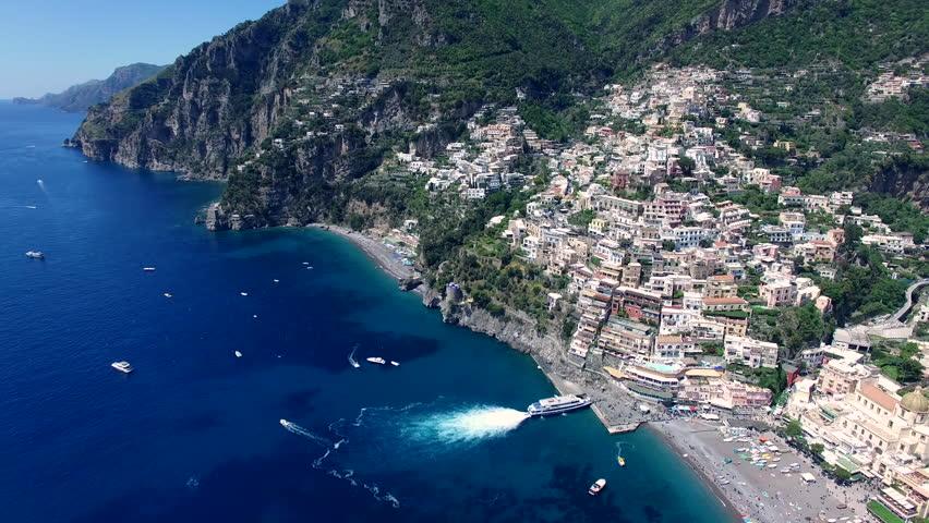 Positano, Amalfi Coast. Aerial view. Campania, Italy
