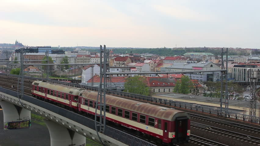 Train passing in the city Prague, Czech Republic. Footage video. | Shutterstock HD Video #26616503