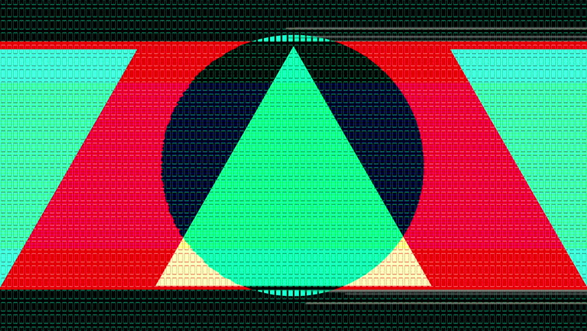 Flat and big shapes with a 8 bit retro style pass by the camera in a seamless motion. Strong colors and glitch effects. Get style with this visuals. A lot of little details, the piece can be zoomed