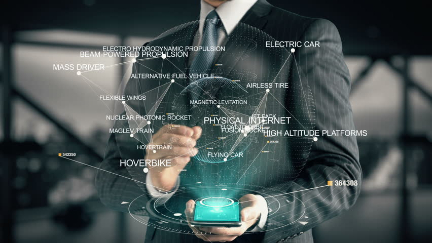 Businessman with Physical Internet hologram concept | Shutterstock HD Video #26638756