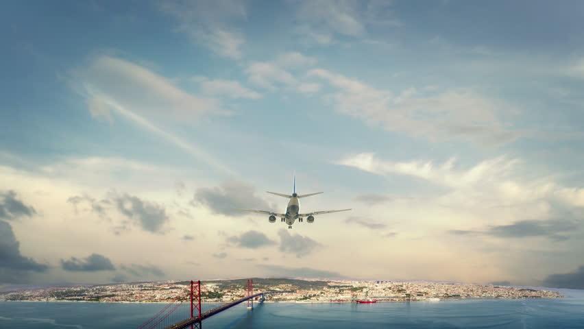 Airplane Landing Lisbon Portugal
