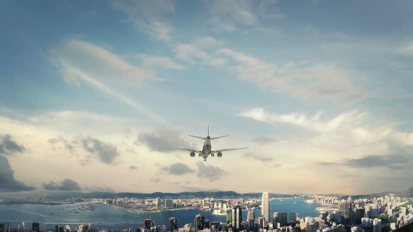 Airplane Landing Hong Kong China new