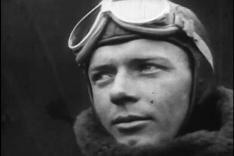 1920s: Pilot Charles Lindbergh prepares to fly the Spirit of St. Louis aircraft on a transatlantic flight, in 1927.