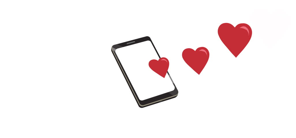 Loop animation of hearts floating out of a smartphone