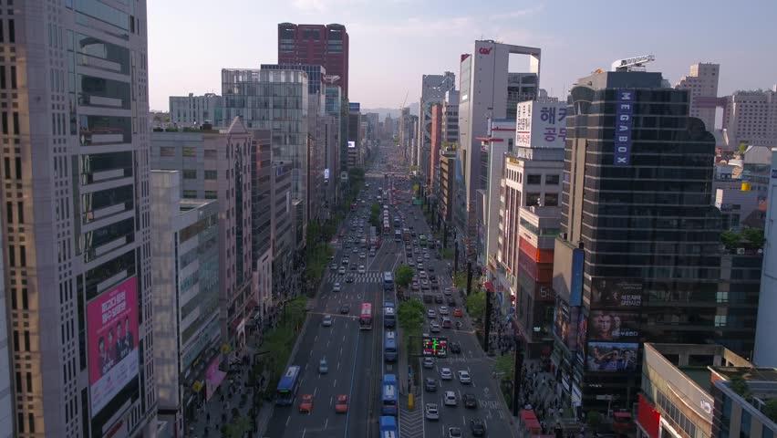 Aerial Korea Seoul April 2017 Gangnam Sunny Day | Shutterstock HD Video #26698156