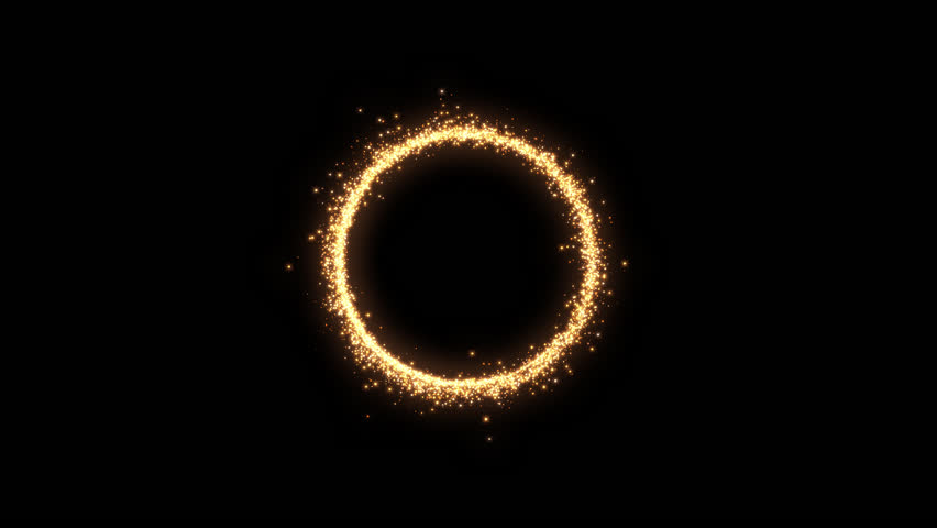 Shining sparkles creating a central circle with alpha that can be used as a nice abstract background with your logo or title. Abstract golden rotating particles. It has three clips attached together. | Shutterstock HD Video #26705500