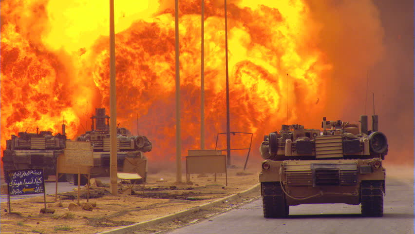 Line charge from U.S. tank exploding on an Iraqi road