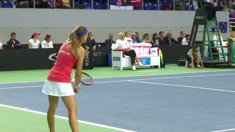Zrenjanin ;Serbia ; 04/23/2017. Meeting of Serbian national team and the national team of Australia in Fed Cup which is  premier international team competition in women's tennis.