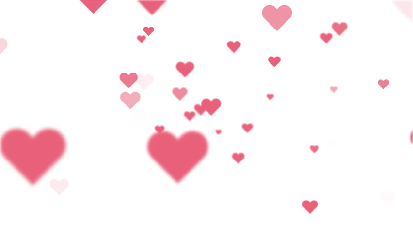 Flying hearts animation on white background