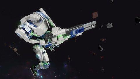 3D CG, battle robot shooting laser gun