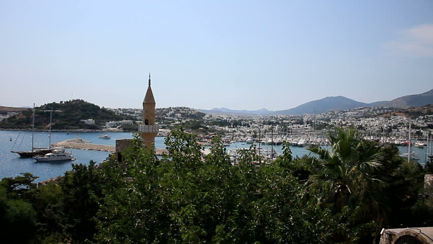 Ottoman Mosque overlooking the Coastal Harbor of Bodrum, Turkey