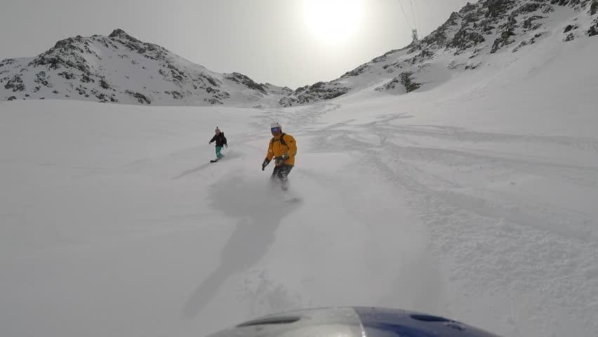 Snowboard off piste in powder 3. | Shutterstock HD Video #26768710