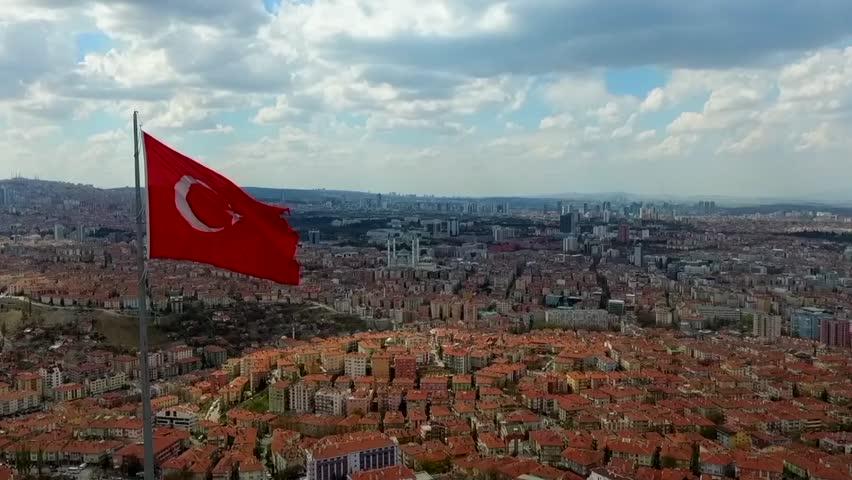 Turkish Flag And Aerial View Of Ankara