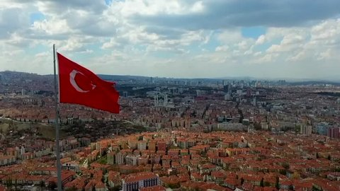 Turkish Flag And Aerial View Of Ankara
