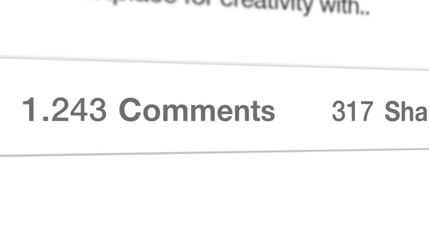 Closeup of a Facebook post with animated number count of the comments and shares. Perfect for social media. Facebook is the most popular online social networking service in the world.