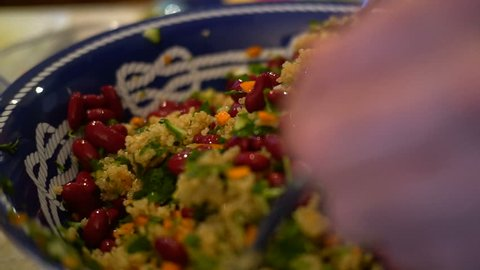 Quinoa Salad Mixing Slow Motion Close-Up - Organic Healthy Eating Lifestyle