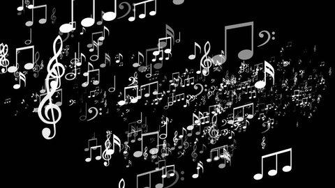 Random Music Note Explosion, Animation, Rendering, Background, Loop, 4k
