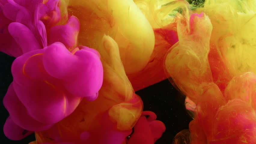 Yellow And Pink Ink Mix In A Tank Of Black Water Shot On Red Epic W 8k Helium Cinema Camera
