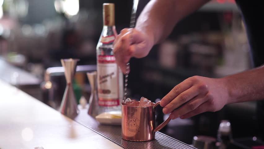 Barman alcoholic cocktail preparation #26891206