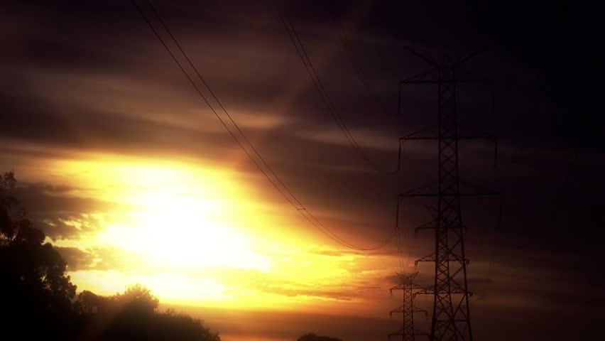 Timelapse - Powerlines susnset