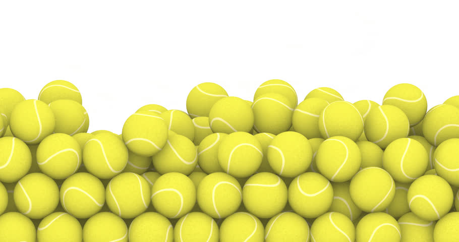 Falling tennis balls / 3D animation of tennis balls filling screen
