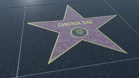 Hollywood Walk of Fame star with CAMERON DIAZ inscription. Editorial 4K clip