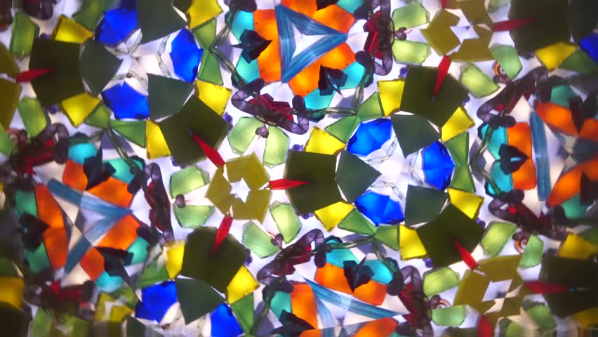 Live abstract colorful kaleidoscope pattern. View from inside of an vintage optical toy (instrument with mirror and reflecting surfaces)