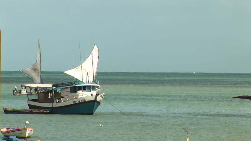Anchored boats in Fortaleza, Brazil