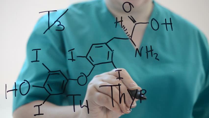 Chemical formula Thyroxine. T4.