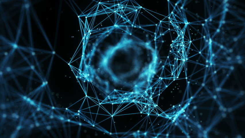 A Flying Through Digital Data Tunnel, made of digital nodes and connection paths. The animation can be used for visuals, vj, light presentations or as motion background. Alpha Matte. Seamless Loop. 4k