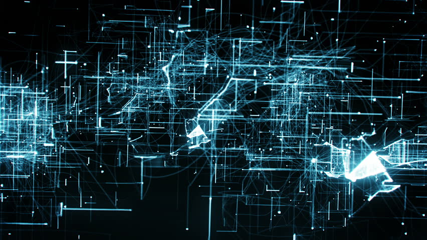 Computer animation of background with moving particles made with lines and dots and illuminated with blue color against black background | Shutterstock HD Video #27014230