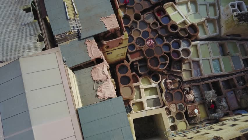 Marocco, Fez, tannery, aerial drone footage 4k
