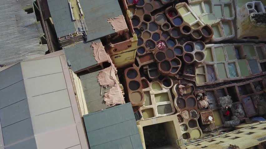 Marocco, Fez, tannery, aerial drone footage 4k  | Shutterstock HD Video #27018520