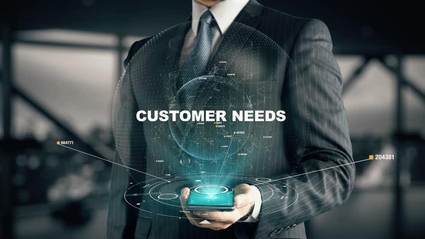 Businessman with Customer Needs hologram concept
