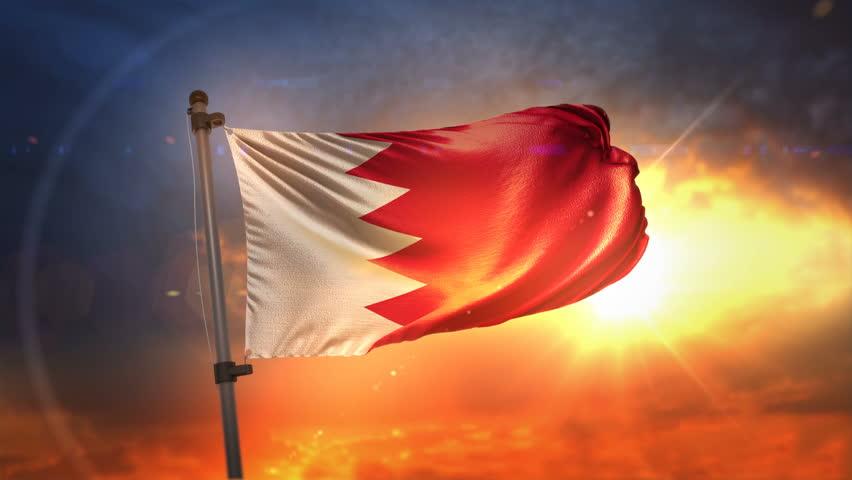 Bahrain Flag Backlit At Beautiful Sunrise Loop Slow Motion 3D Rendering 4K