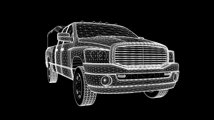 A three-dimensional model of a pickup truck in the form of a polygon mesh object. The camera moves makes the flyby.