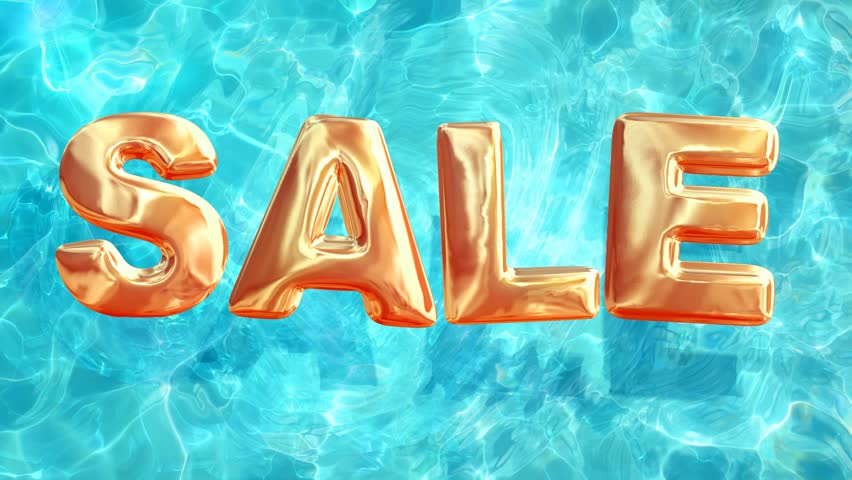 top view of summer sale, loop background of crystal clear water with sale sign looks like balloons, 3d animation elements with alpha channel