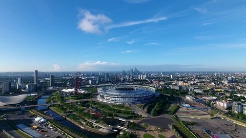 STRATFORD, LONDON - MAY 2017: Spectacular aerial view of the West Ham United football stadium.